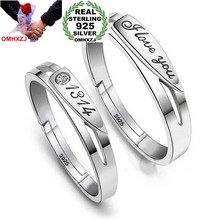 966a9076c3 OMHXZJ Wholesale Fashion star I love you 1314 Lovers Couple 925 Sterling  Silver open adjust female for Woman Man Ring Gift RG11