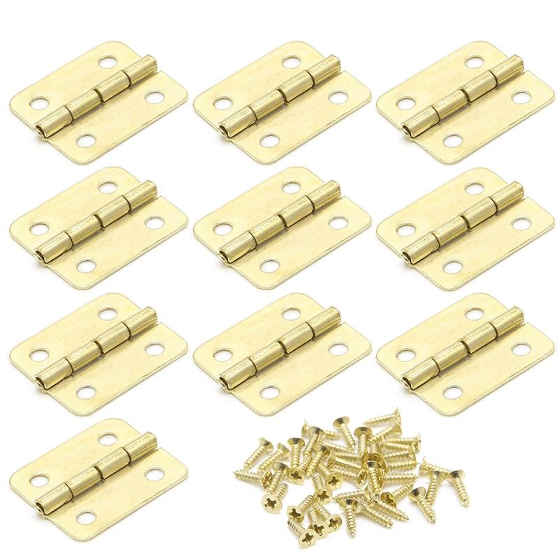 10 Uds. Bisagras para puertas de armarios de cocina accesorios para muebles bisagras para cajón dorado de 4 agujeros para joyeros Herrajes para muebles 18x16mm