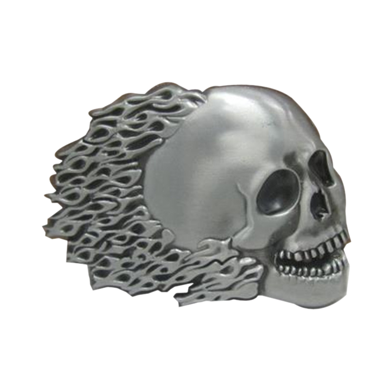 Christmas gift clothing men belt buckle metal cowboy designer Burning Skull Head logo DIY clothes fashion belt buckle