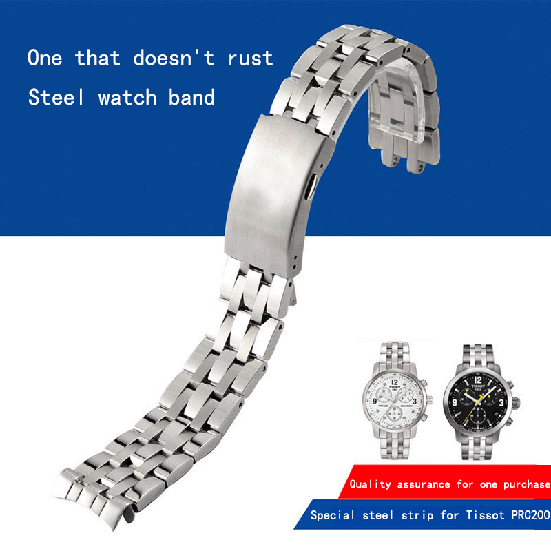 Suitable for Tissot 1853 steel strap <font><b>watch</b></font> chain <font><b>PRC200</b></font>/T17 steel chain /T461/T014 strap. image