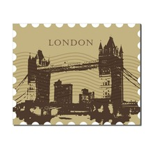 Laeacco London Bridge Postcard Posters and Prints Wall Art Picture Modern Canvas Painting for Home Living Room Decor