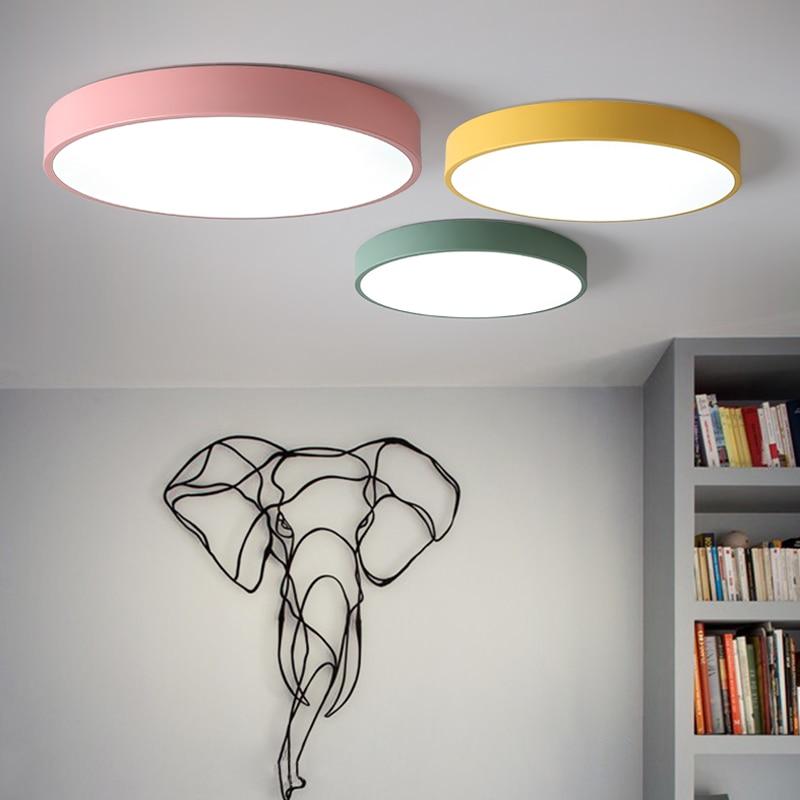 Fantaisie Macaron plafonniers LED scandinave fer plafonnier pour chambre Restaurant couloir salon déco Maison Lustres