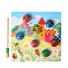 Детские деревянные игрушки Miraculou Божья коровка Catch The Chafer магнитная игра рыбалка Семейные игры забавная рыба игрушка для подарок для мальчика девочки
