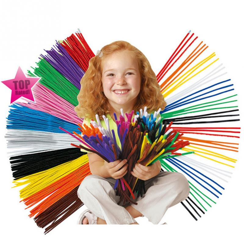 100pcs 30cm Chenille Stems Baby Children DIY Handmade Toys Rducational Colorful Cure-Pipe Crafts
