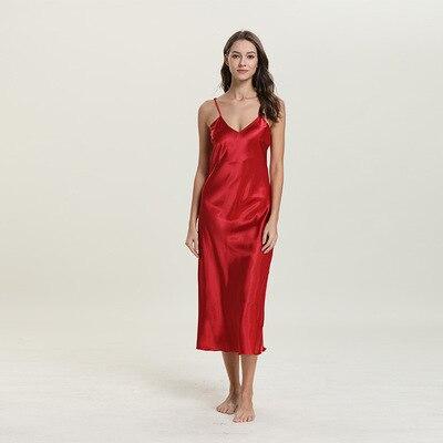 Daeyard Women 39 s Nightgown Silk Spaghetti Straps Nightdress Solid Sleepshirt Sexy Long Summer Dress Sleepwear Elegant Homedress in Nightgowns amp Sleepshirts from Underwear amp Sleepwears
