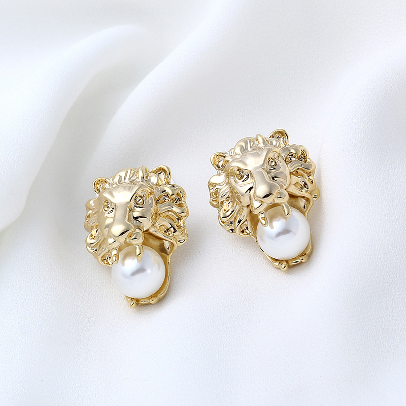 Stud-Earrings Jewelry Disco Lion Party Vintage Women for Pearl 24KGP