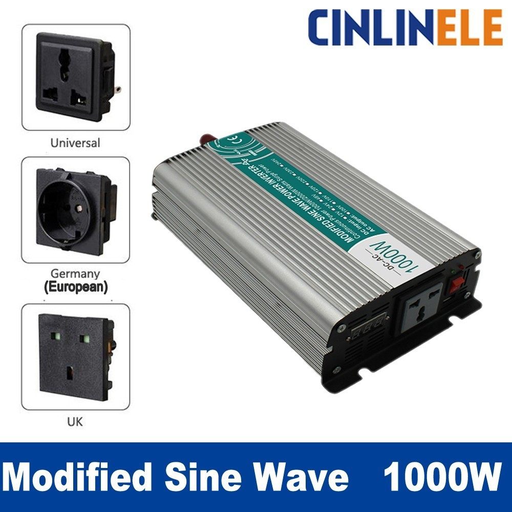 Smart Modified Sine Wave Inverter 1000W CLM1000A DC 12V 24V to AC 110V 220V 1000W Surge Power 2000W Power Inverter 24V 110V whm1000 242 smart 1000w 24v dc to ac 220v 230v 50hz modified sine wave solar power inverter