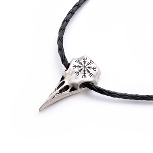 viking raven skull pendant necklace choker fashion bff necklace 2018 wedding gifts for guests men's clothing accessories parts(China)