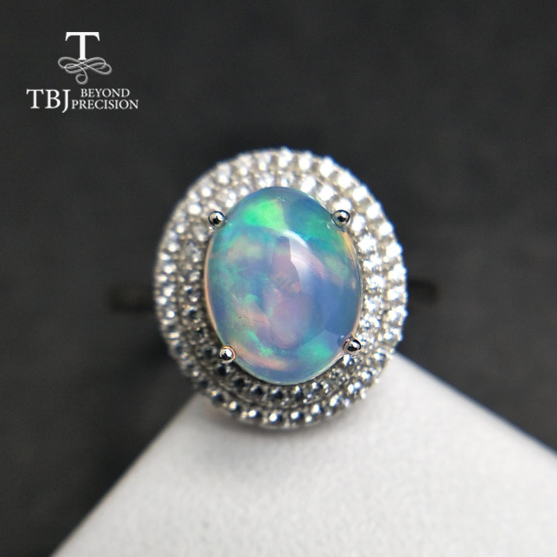 TBJ Natural Ethiopian Colorful Opal oval 8 10mm with gemstone Comfortable Finger Ring in 925 sterling