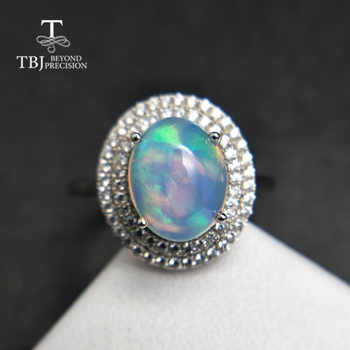 TBJ,Natural Ethiopian Colorful Opal oval 8*10mm with gemstone Comfortable Finger Ring in 925 sterling silver for women with  box - DISCOUNT ITEM  8% OFF All Category