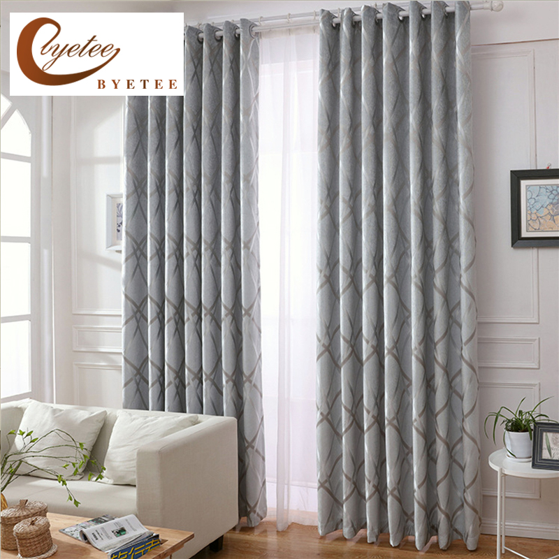 [byetee] Striped Chenille Jacquard Kitchen Door Blackout Luxury Curtains For Bedroom Window Curtain Fabric Living Room Drapes