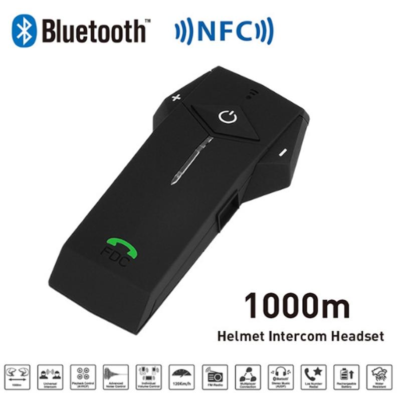 FreedConn T-COM COLO NFC Techrbike Interhone Motocom Motorcycle Bluetooth Helmet Headset 1000M Interp Headphone