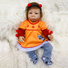 купить 18 inch Boneca Reborn Soft Cotton Body Silicone Vinyl Dolls Reborn Baby Doll Newborn Lifelike Bebe Reborn Doll Birthday Gift дешево