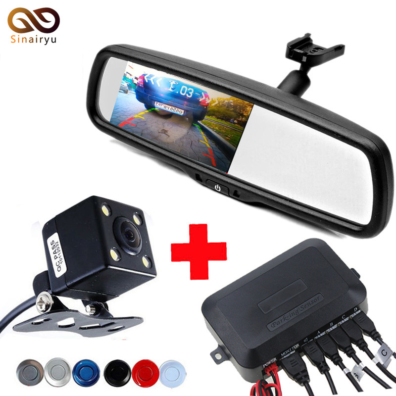 Dual Core CPU 4.3 inch Car Rear View Mirror Parking Monitor With Bracket + Rear View Camera+ Car Video Parking Sensor 4 Sensors 3 in 1 monitor parking camera video system 7 inch rear view mirror monitor with back up mini camera with 4 sensor radar parking