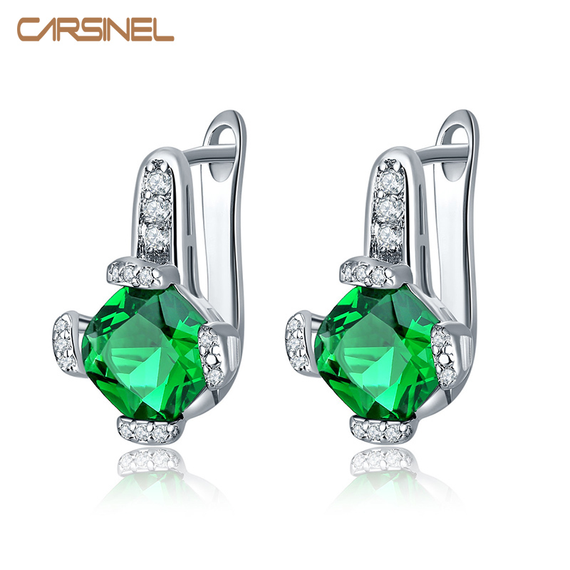 CARSINEL Fashion Silver color CZ Zircon Hoop Earrings For Women Wedding Jewelry Earring 7 Colors Free shipping ER0279