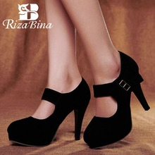 RIZABINA Plus Size 31-48 New Arrival Fashion Platform Pumps Women Crystal Buckle High Heels Shoes Woman Party Wedding Footwear