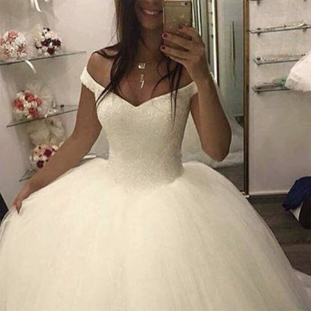 Fansmile 2019 New Bling Bling Ball Gown Wedding Dresses Off the Shoulder Bridal Wedding Gowns Customized