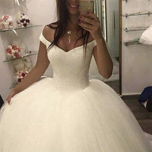 Fansmile 2020 New Bling Bling Ball Gown Wedding Dresses Off the Shoulder Bridal Wedding Gowns Customized Plus size FSM 503F