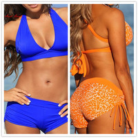 Ariel Sarah Sexy Bandage Swimsuit Solid High Waist Swimwear Women Two Piece Brazilian Bikinis Women 2017