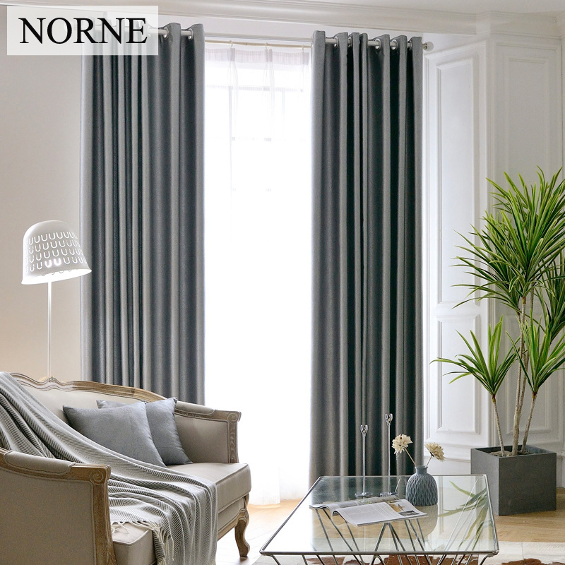 NORNE Heavy Embossed Blinds Curtain for Living Room Bedroom Soundproof Blackout Curtains Window Drapery Grey Brown Solid,Voile