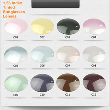 Lentilles de lunettes de soleil de Prescription, de couleur teintée, pour la myopie/hypermétropie, gris, marron, bleu, rose, lentilles enrobées, Anti UV, indice 1.56