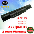 wholesale New 6cells laptop battery for Asus A43 A53 K43 K53 X43 A43B A53B K43B K53B X43B SeriesA32-K53 A42-K53  Free shipping