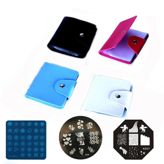 2016 Hot Sale 32 Slots Nail Art Stamp Plate Stamping Plates Holder Storage Bag Cases Stamp Bag Organizer SY