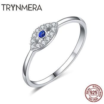 f13e7af13b4c Compromiso 925 plata esterlina mal de ojo anillo azul ojo de cristal anillos  para las mujeres anillos de boda joyería de plata esterlina