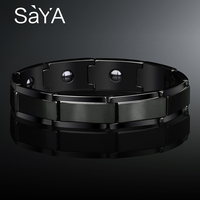 Saya 12mm Width Black PlatingTungsten Carbide Bracelet For Man Jewelry Matte Finished Inlay Magnetic Stone 18/20/22cm Length