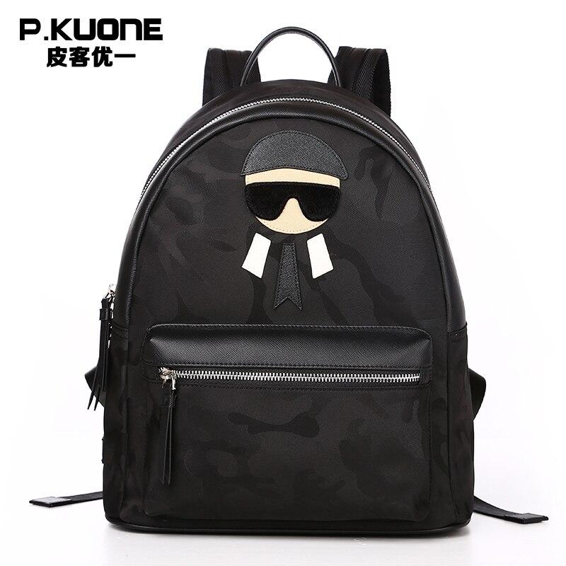 P. Kuone бренд известный дизайнер камуфляж Классный рюкзак Для мужчин печать ноутбук рюкзак мужской подросток школьная сумка рюкзак мешок DOS