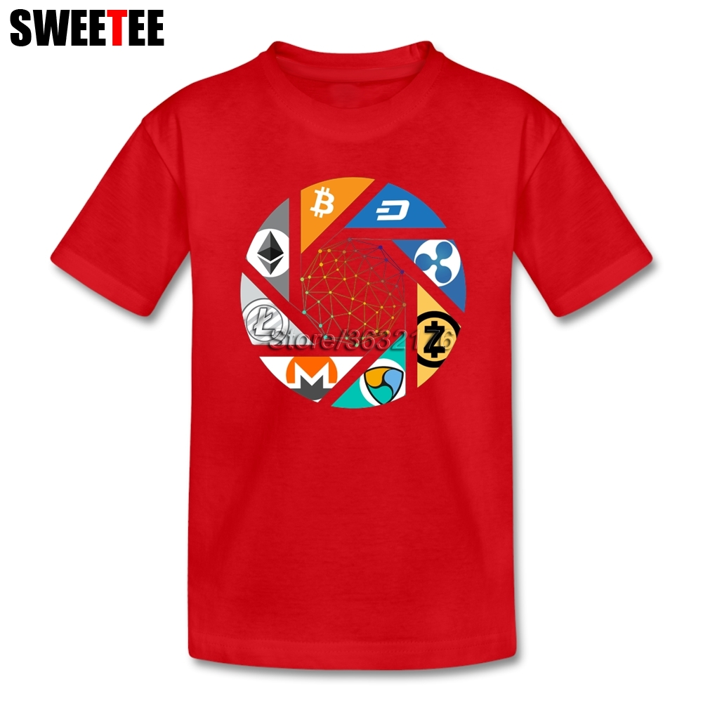 100% Cotton Cryptocurrency Bitcoin Ethereum Ripple Litecoin Nem Dash Monero Zcash T Shirt Baby Boy 4T-8T Graphic Tees For Kids