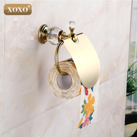 XOXOLuxury crystal brass gold paper box roll holder toilet gold tissue box Bathroom Accessories bath hardware12086GS
