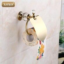 Xoxoluxury Кристалл Латунь Золото бумажная коробка держатель рулона туалетной золото Tissue Box Ванны комнаты Аксессуары Ванна hardware12086GS
