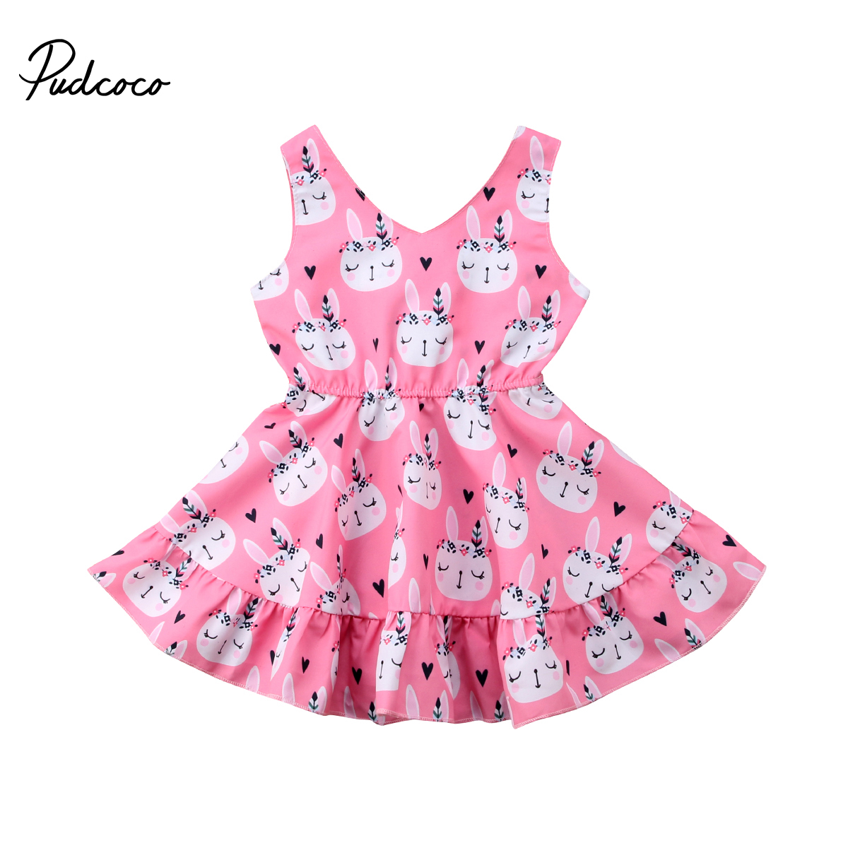 Pudcoco Kids Toddler Baby Girl Clothes Princess Sleeveless Rabbit Ball Gown Dress Outfits 1-6 Years  Easter Costume