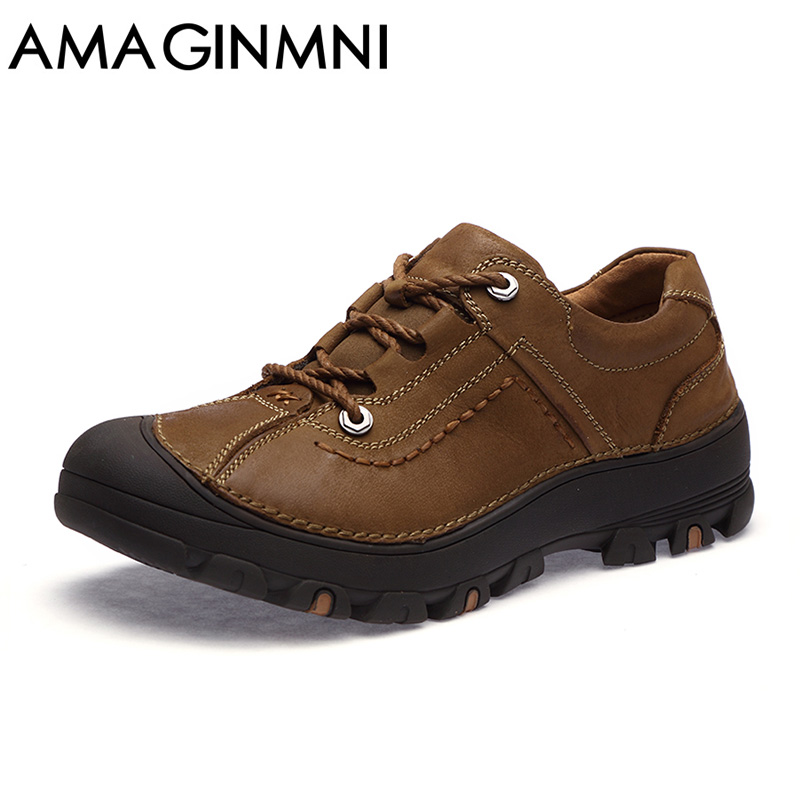 AMAGINMNI Autumn Men Boots 2018 New Breathable Shoes Male Casual Waterproof Non-Slip Shoes Man Genuine Leather Shoes Casual