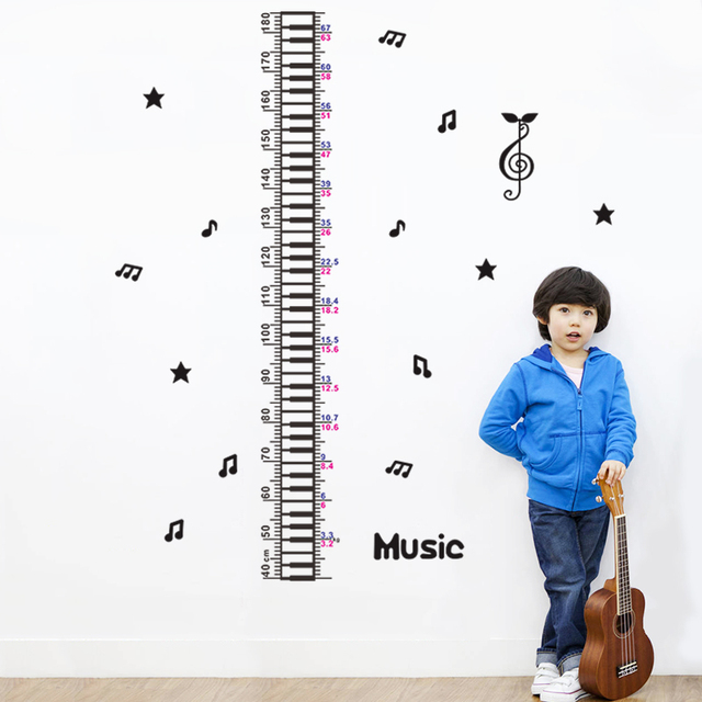 Musical Note Growth Chart Wall Stickers Kids Classroom Decor 1602