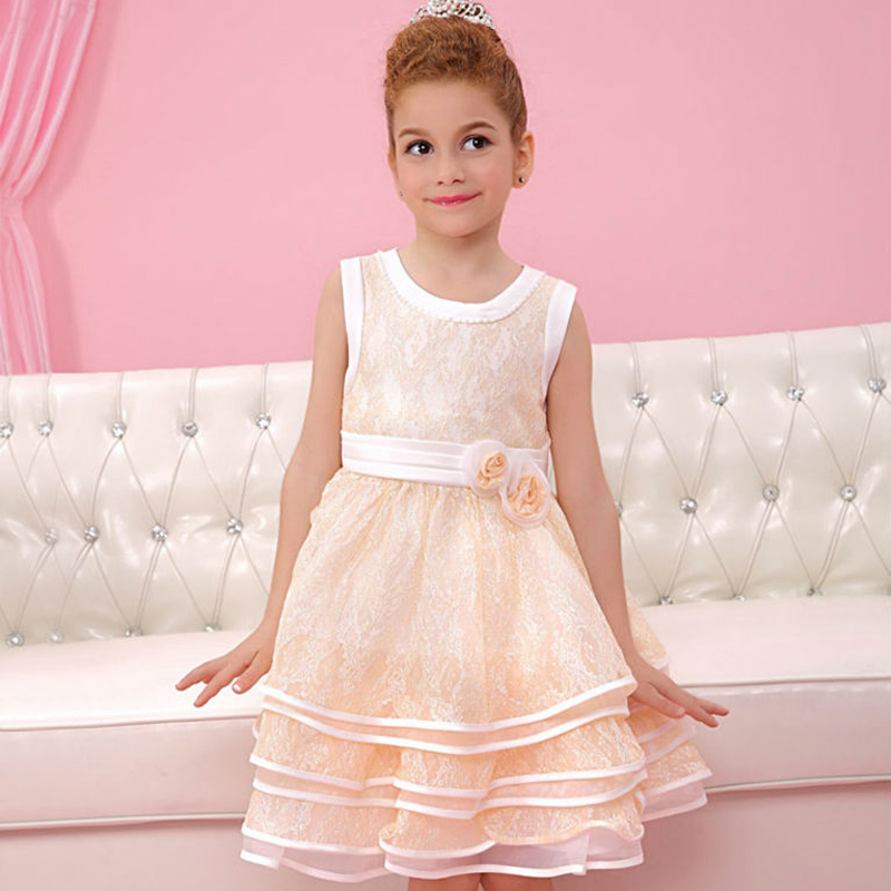 ФОТО Lace Flower Girl Dresses for Weddings A-line Style O-neck A-line Ruffles Knee Length Girls Pageant Dresses Vestidos De Comunion