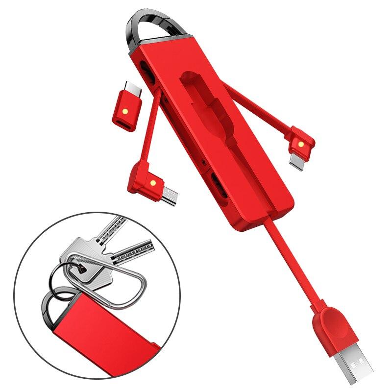 Oatsbasf llavero USB 3 en 1 para iPhone XS Max XR 8X6 7 5 s iPhone 6 s Cable de teléfono móvil para iPhone, Ipad Air Cable Micro USB