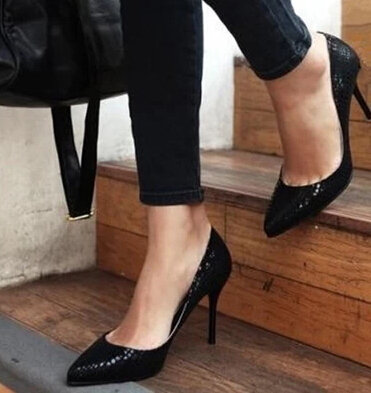 w-Free shipping 2016 European Spring single shoes women fashion snake pattern high heels girls sexy pointed toe leather pumps