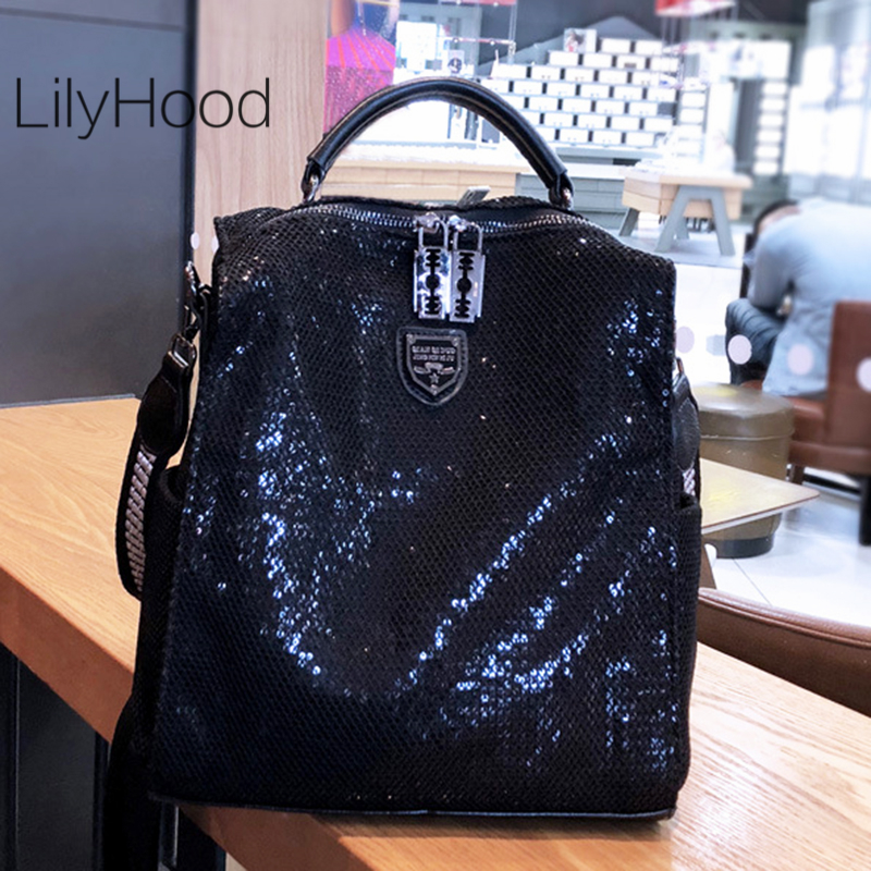 Mesh Netting Iridescent Paillette Backpack Women High Quality Sparkle Shiny Daily School Bag Female Female Bagpack Shoulder Bag