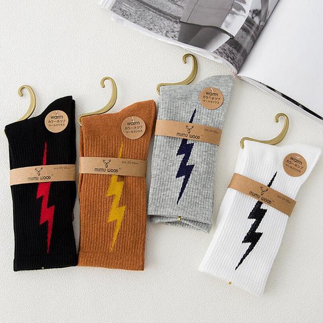 New Female Socks Japanese Lightning Personality Tide Socks Harajuku Street Long Tube Cotton Socks Fashion Skateboard Socks 4