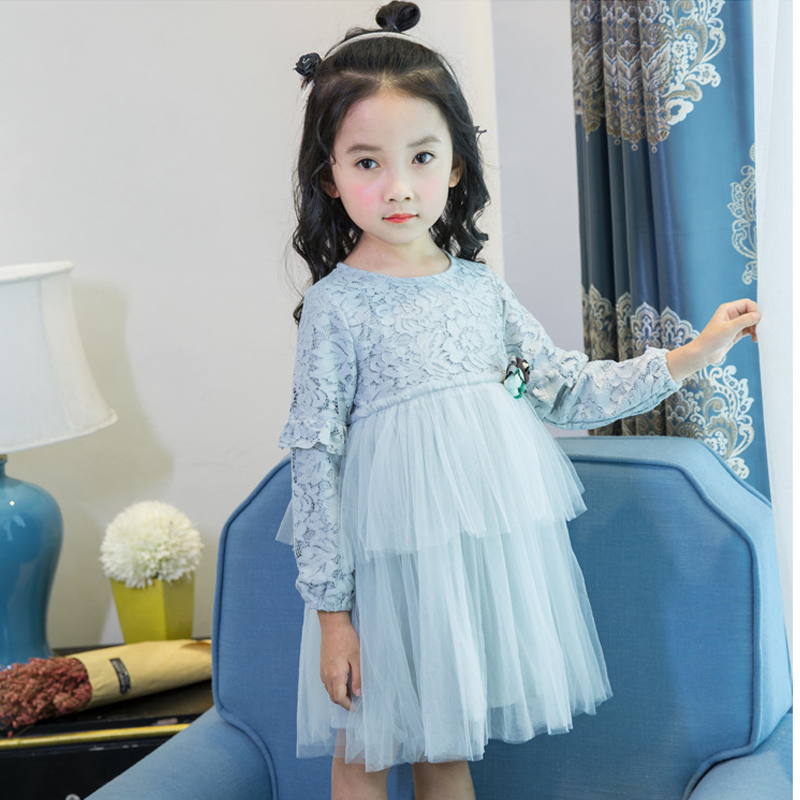 Lace Flower Dress Girls Clothes In Sashes For Wedding Party Formal Princess Dress Girl Cupcake Dress Spring Autumn Kids Clothes girls short in front long in back purple flower girl dress summer 2017 girl formal dress kids party princess custume skd014283