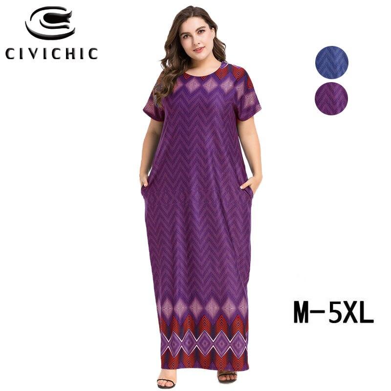CIVI CHIC Muslim Robe Femme Plus Size Long Dress Bohemian Geometric Print Striped Maxi Vestidos Grote