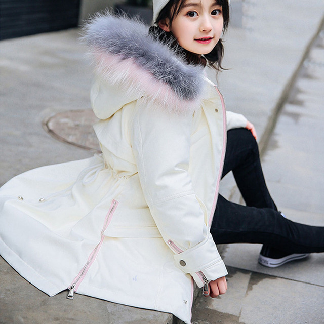 Teen Girl Winter Coat Parka Long Down Puffer Hooded Fur Collar Children Winter Jacket Kids Thick Clothes For  12 14 Years