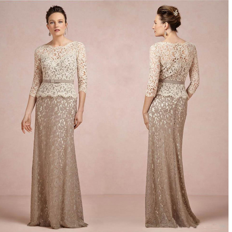 Brown And Champagne Long Sleeve Lace Mother Of The Bride
