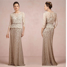 Brown And Champagne Long Sleeve Lace Mother of the Bride Dresses 2016 Mermaid Mom Godmother Groom Gowns