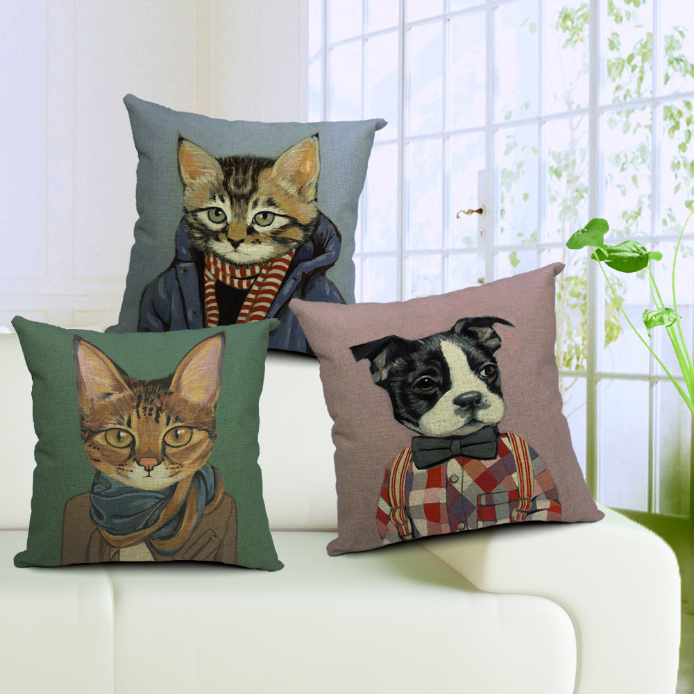 French Bulldog Pillows Cotton Outdoor Cat Decor Cojines