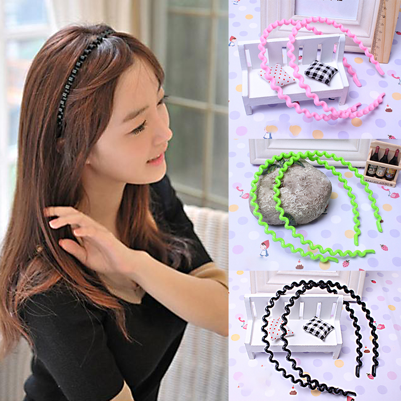 9 Colors Hot Sale Women Girls Kids Korean Wavy Casual Plastic HairBand   Headwear   Hair Accessories