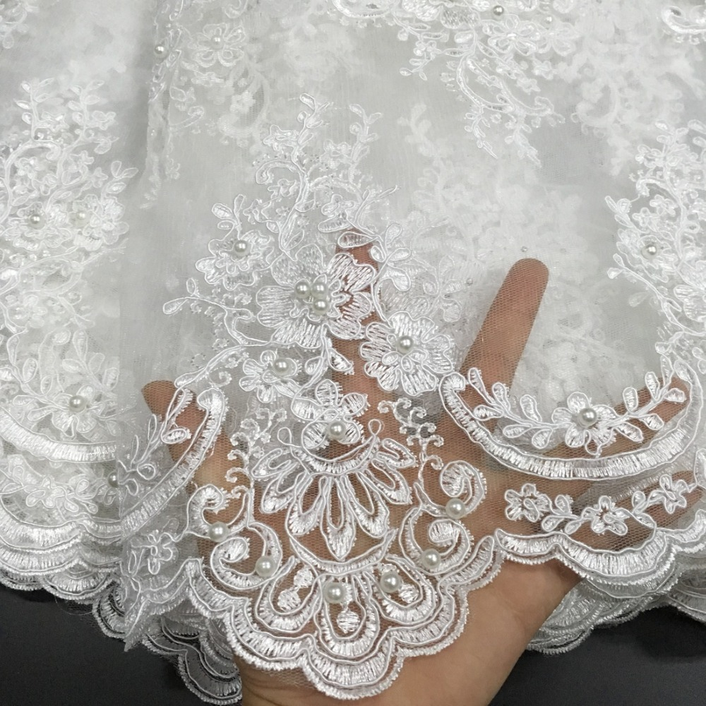 African Beaded Lace Fabric 2018 High Quality Lace Material White French Lace Fabric Nigerian Tulle Mesh