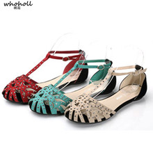 WHOHOLL  Brand Flat Sandals for Woman Summer Beach New Hollow Out Rivet Rhinestone Women Shoes